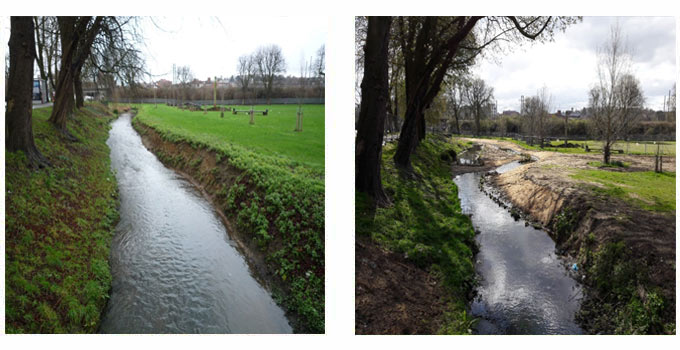 Downstream view of the River Lea at the Moor before and after