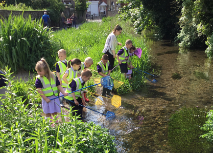 Pupils from White Cliffs Primary College taking part in river dipping